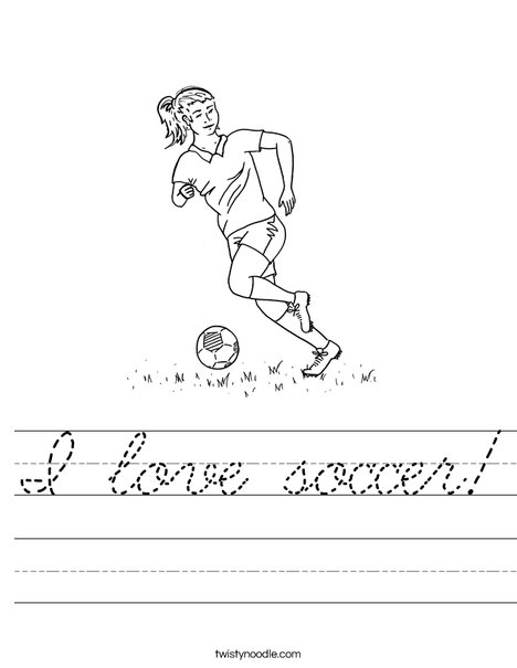 Girl Soccer Player Worksheet