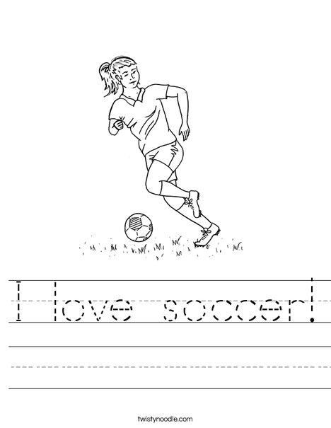 i love soccer worksheet twisty noodle. Black Bedroom Furniture Sets. Home Design Ideas