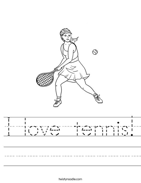 Girl Tennis Player Worksheet