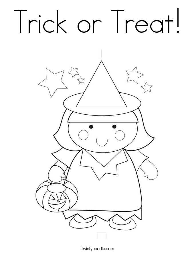 Trick or Treat Coloring Page - Twisty Noodle