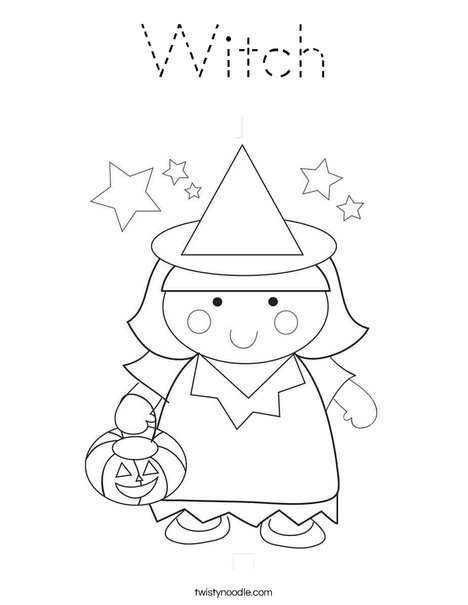 Girl Witch Coloring Page