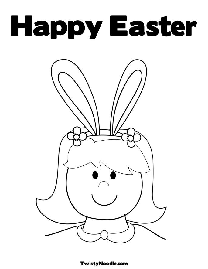 Boy With Bunny Ears Colouring Pages