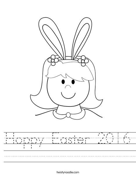 Girl with Bunny Ears Worksheet