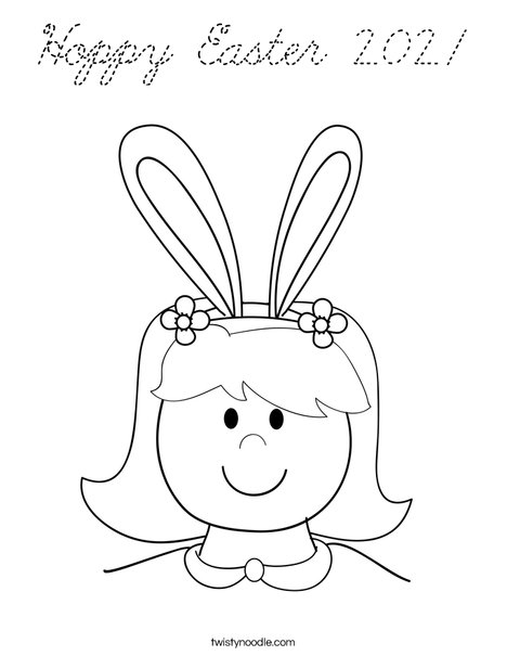Girl with Bunny Ears Coloring Page