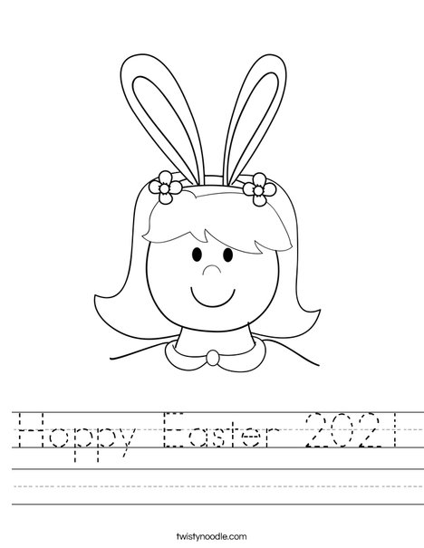 Girl with Bunny Ears Worksheet