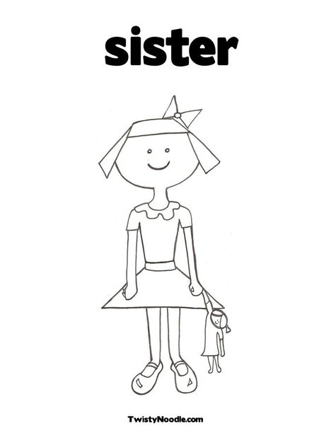 coloring pages of sisters - photo#7