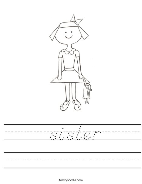 Girl with Doll Worksheet