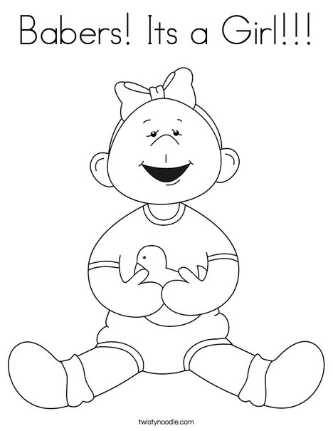 Girl with Ducky Coloring Page