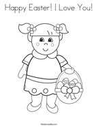 Happy Easter I Love You Coloring Page
