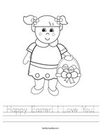 Happy Easter I Love You Handwriting Sheet