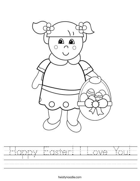 Girl with Easter Basket Worksheet