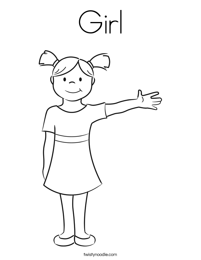 Girl Coloring Page Twisty Noodle