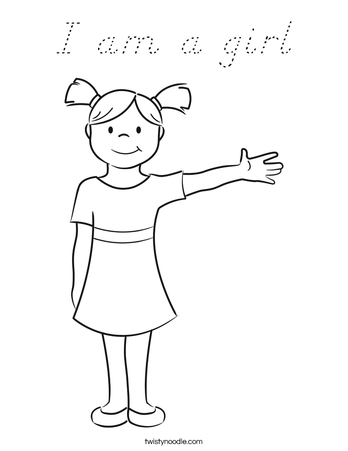 I am a girl Coloring Page