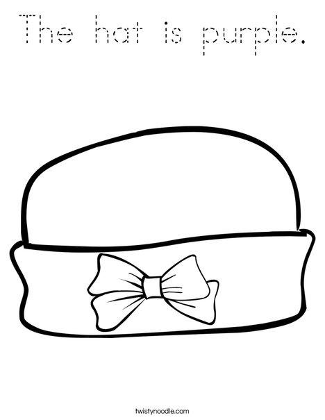 Girls Hat with Bow Coloring Page
