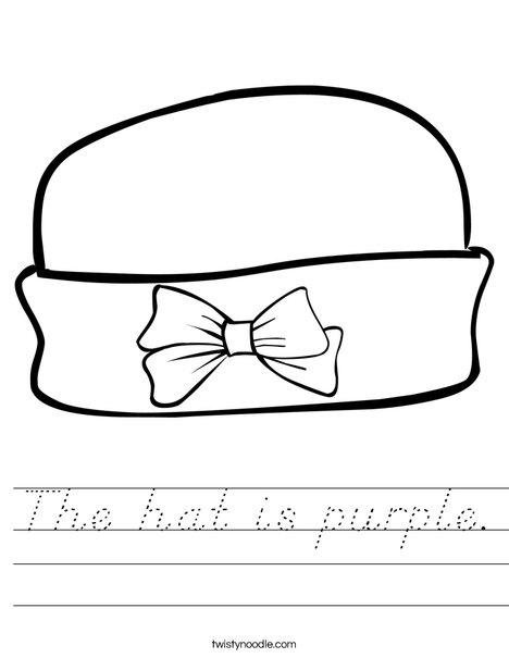 Girls Hat with Bow Worksheet