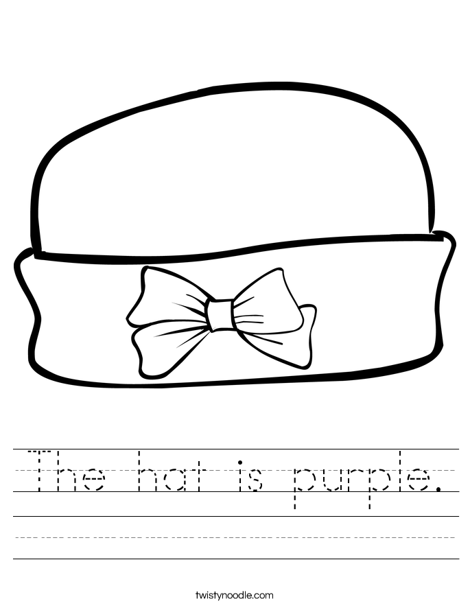 The hat is purple. Worksheet