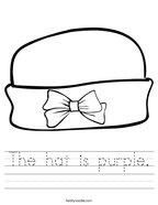 The hat is purple Handwriting Sheet