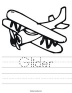Glider Handwriting Sheet