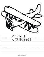 Glider Handwriting Sheet