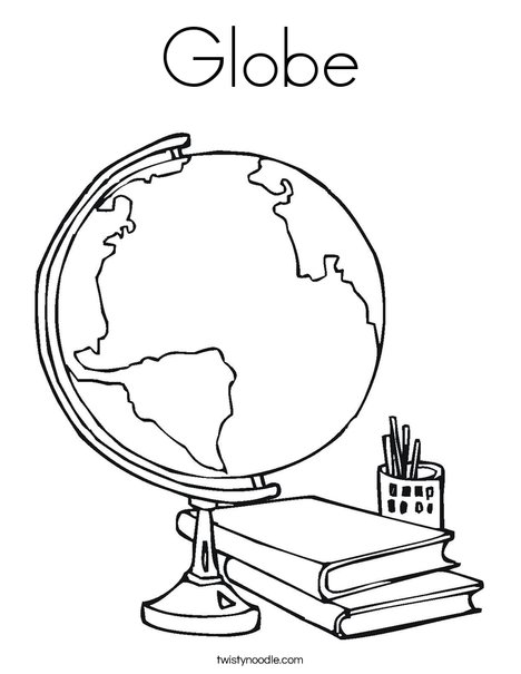 Globe Coloring Page Twisty Noodle