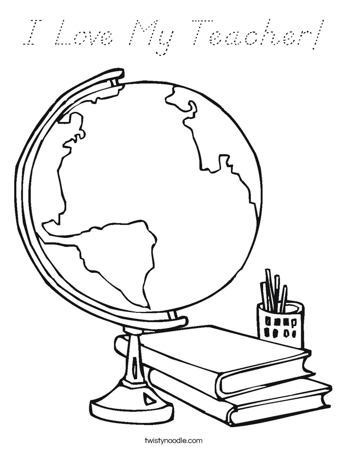 I Love My Teacher! Coloring Page