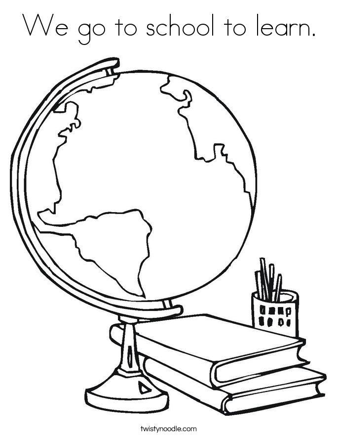 We go to school to learn. Coloring Page