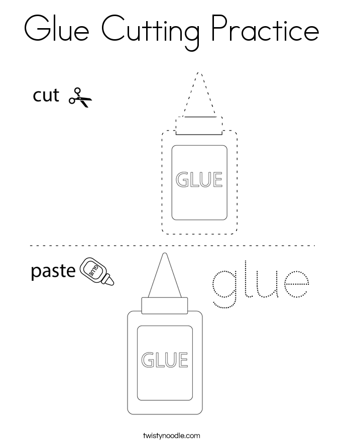Glue Cutting Practice Coloring Page