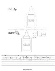 Glue Cutting Practice Handwriting Sheet