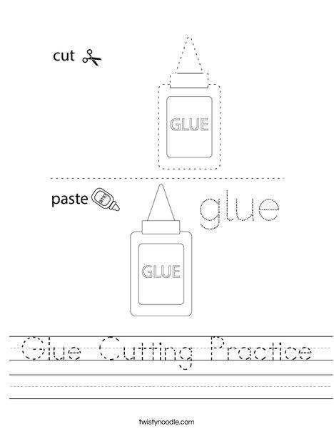 Glue Cutting Practice Worksheet