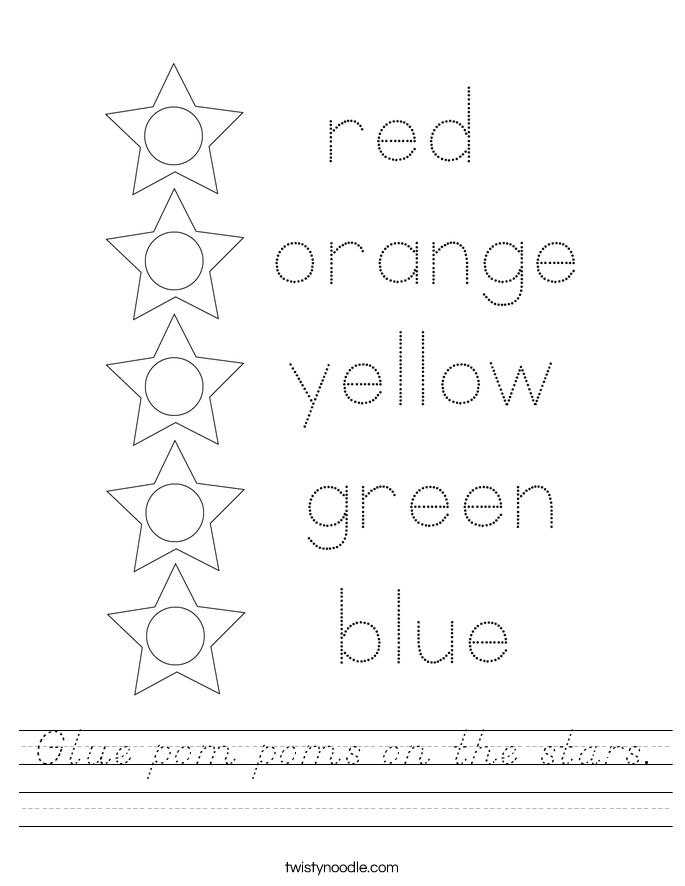 Glue pom poms on the stars. Worksheet