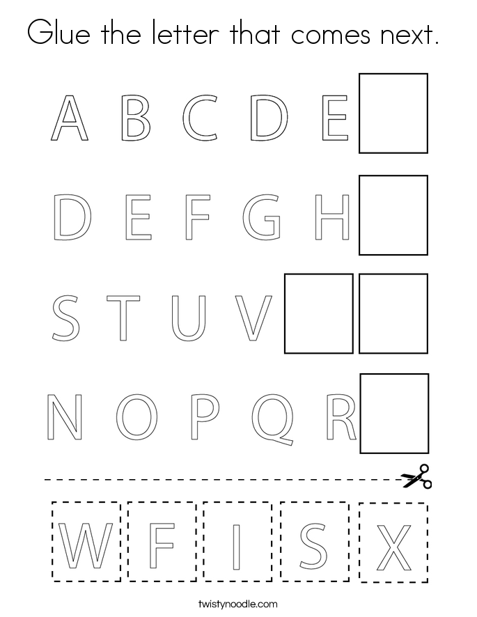 Glue the letter that comes next.  Coloring Page