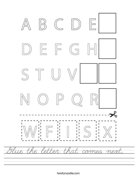 Glue the letter that comes next. Worksheet