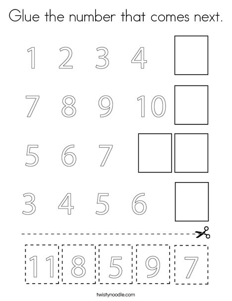 Glue the number that comes next. Coloring Page