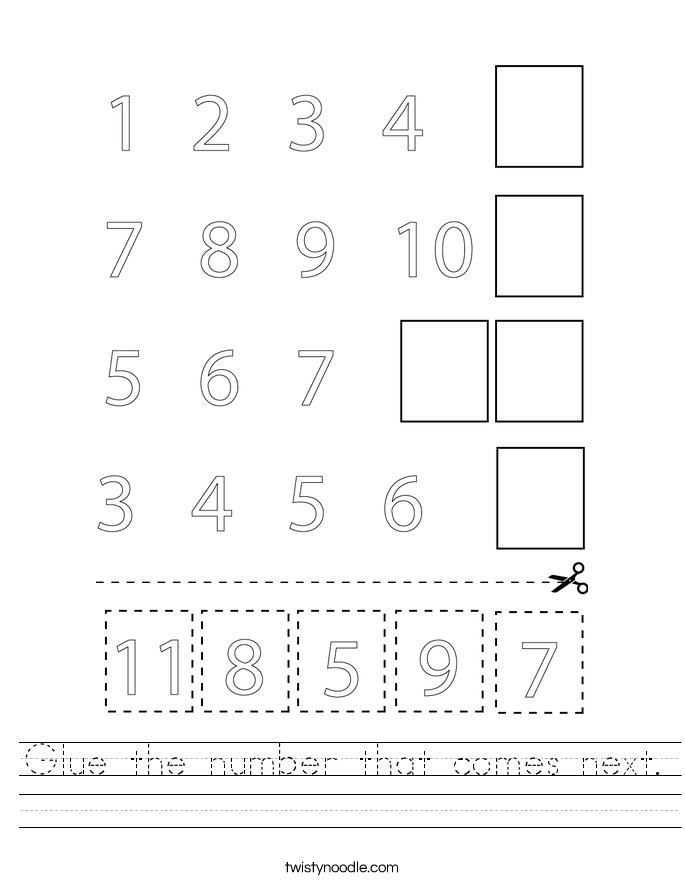 Glue the number that comes next. Worksheet
