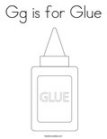 Gg is for Glue Coloring Page