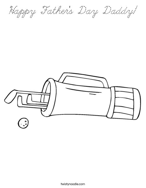 Golf Bag and Clubs Coloring Page