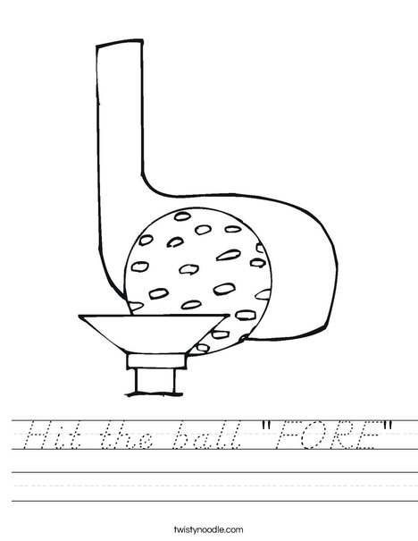 Golf ball and club Worksheet