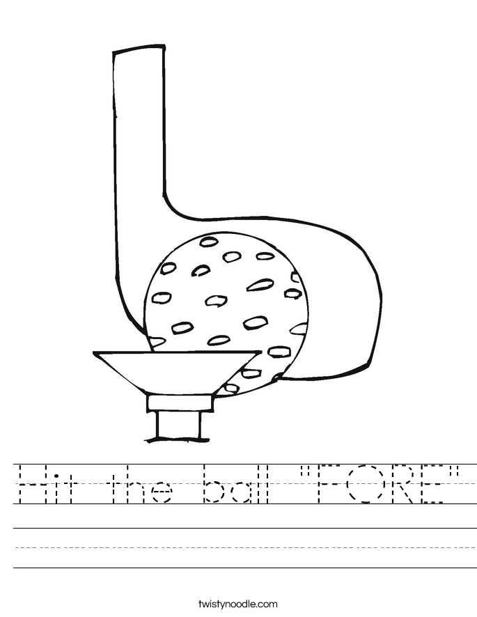 """Hit the ball """"FORE"""" Worksheet"""