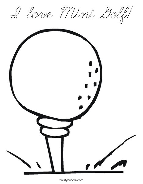 Golf ball on tee Coloring Page