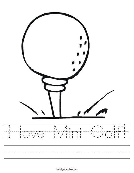 Golf ball on tee Worksheet