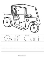 Golf Cart Handwriting Sheet