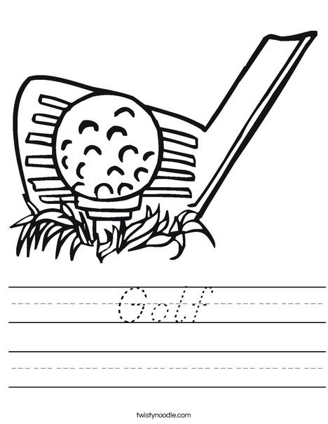 Golf Club and Ball Worksheet