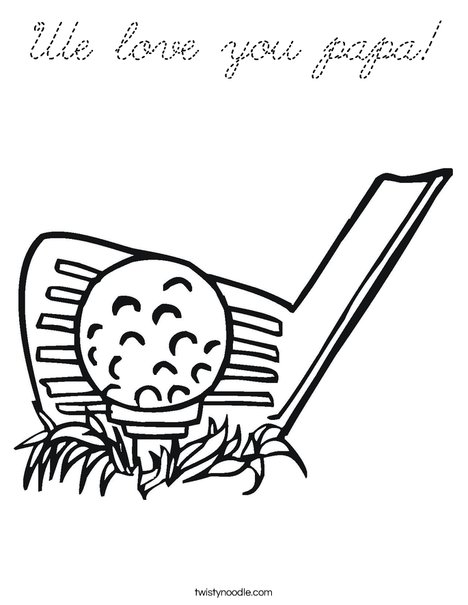 Golf Club and Ball Coloring Page