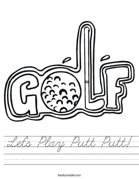 Golf Sign Worksheet