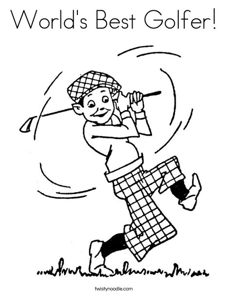 Golfer 2 Coloring Page