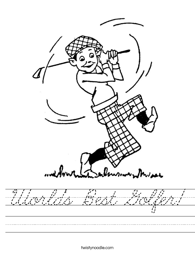 World's Best Golfer! Worksheet