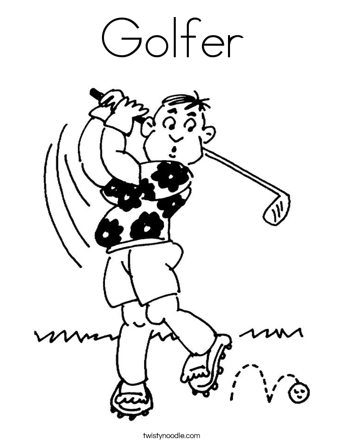 Golfer Coloring Page