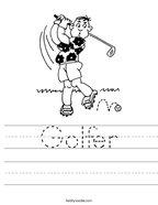 Golfer Handwriting Sheet