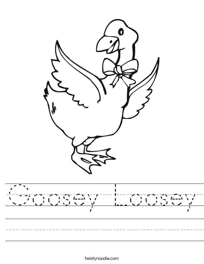 Goosey Loosey Worksheet