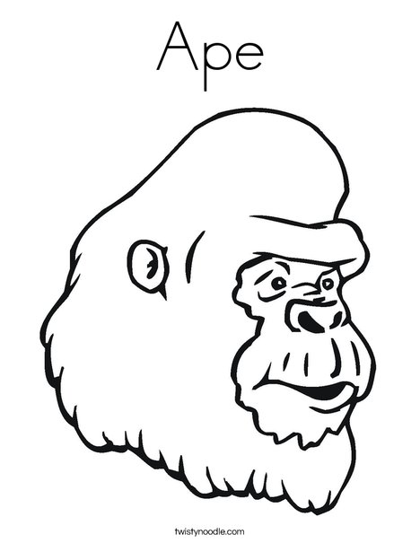 Ape Coloring Page Twisty Noodle